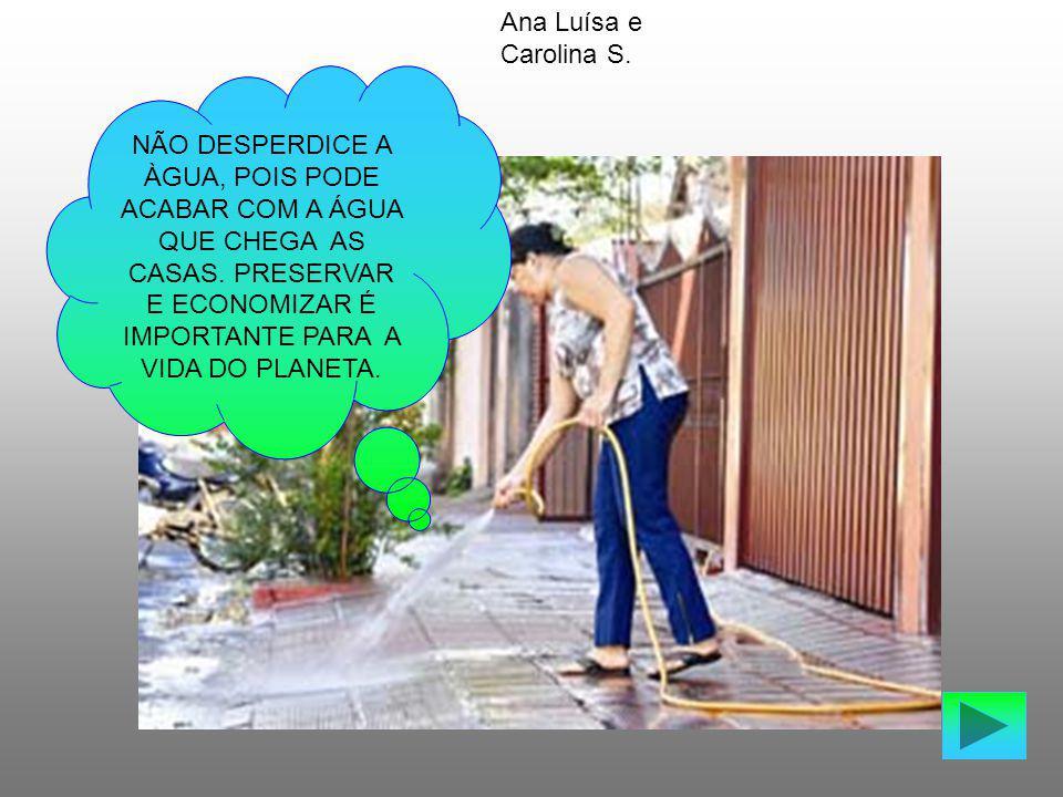 NÃO DESPERDICE A ÀGUA, POIS PODE ACABAR COM A ÁGUA QUE CHEGA AS CASAS. PRESERVAR E ECONOMIZAR É IMPORTANTE PARA A VIDA DO PLANETA. Ana Luísa e Carolin