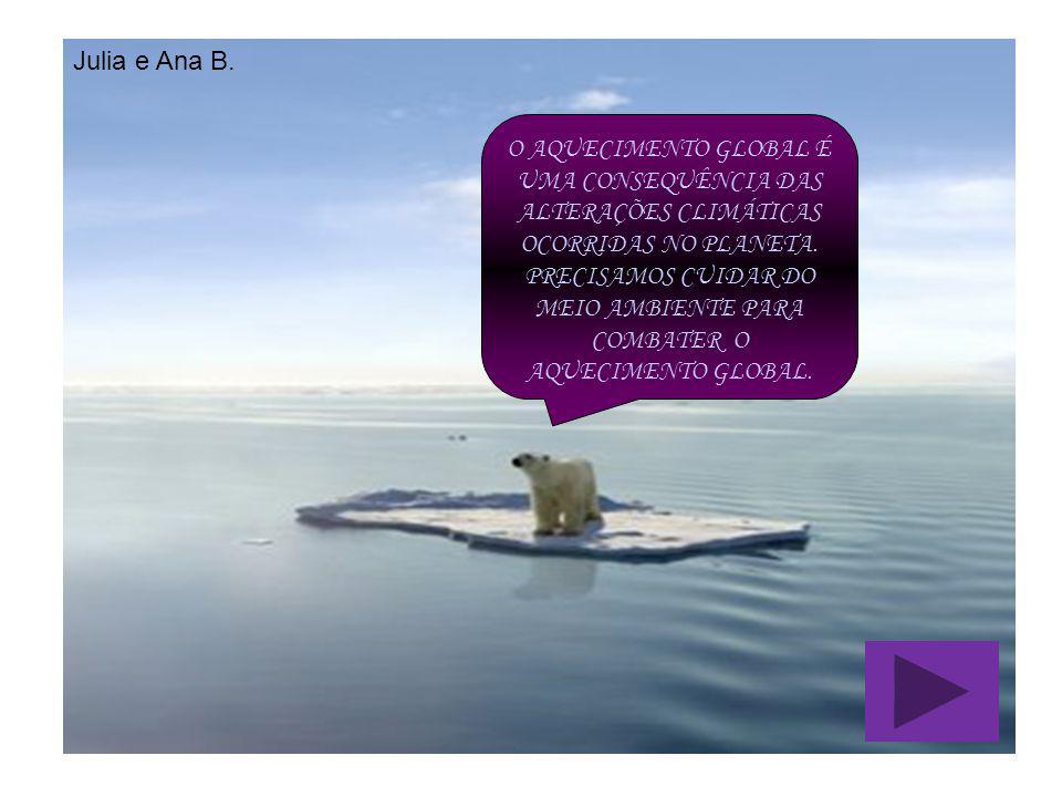 O AQUECIMENTO GLOBAL É UMA CONSEQUÊNCIA DAS ALTERAÇÕES CLIMÁTICAS OCORRIDAS NO PLANETA. PRECISAMOS CUIDAR DO MEIO AMBIENTE PARA COMBATER O AQUECIMENTO