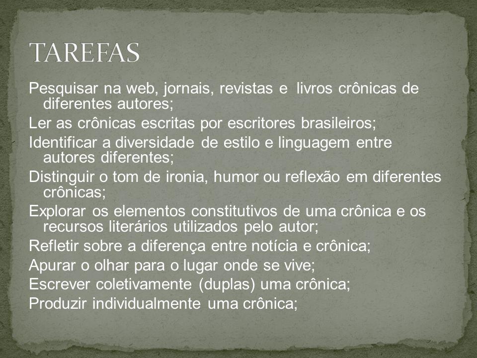 Pesquisar na web, jornais, revistas e livros crônicas de diferentes autores; Ler as crônicas escritas por escritores brasileiros; Identificar a divers