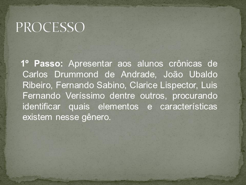 1º Passo: Apresentar aos alunos crônicas de Carlos Drummond de Andrade, João Ubaldo Ribeiro, Fernando Sabino, Clarice Lispector, Luis Fernando Veríssi