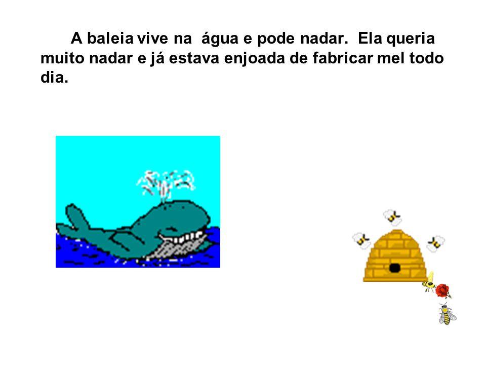 Ela queria ser baleia porque baleia vive no mar e porque a baleia não tem ferrão. A abelha quando dá ferroada, morre.