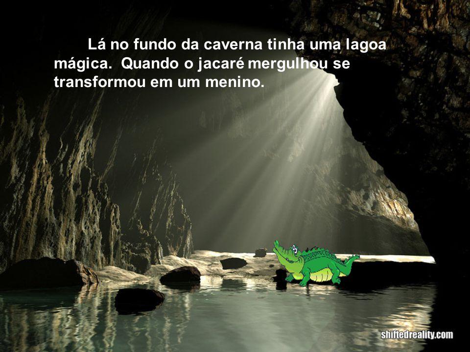 Eles foram numa praia chamada Abraãozinho e lá tinha uma caverna e o jacaré foi lá.