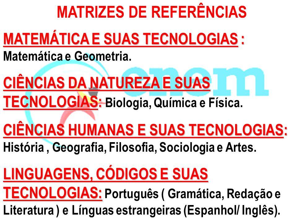 MATEMÁTICA E SUAS TECNOLOGIAS : MATEMÁTICA E SUAS TECNOLOGIAS : Matemática e Geometria. CIÊNCIAS DA NATUREZA E SUAS TECNOLOGIAS: CIÊNCIAS DA NATUREZA