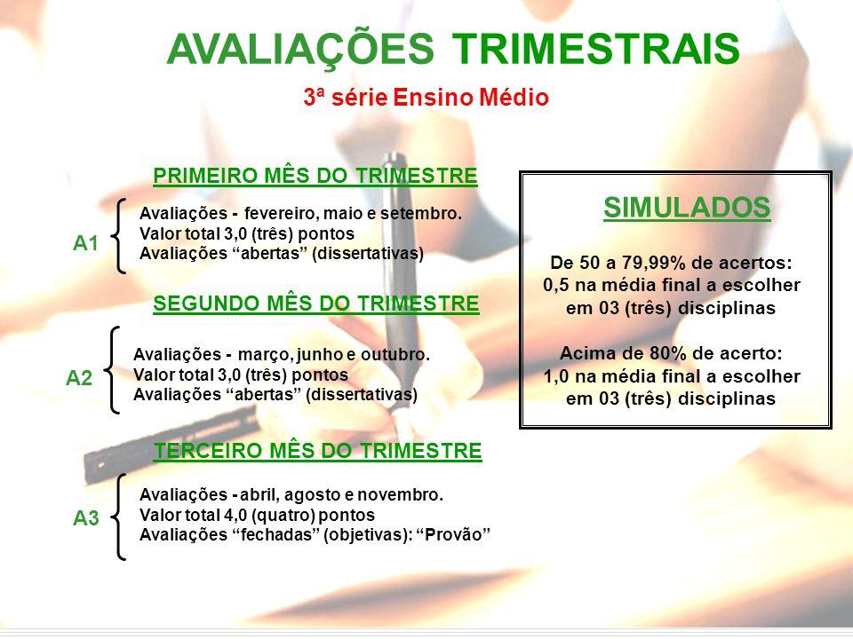 AVALIAÇÕES TRIMESTRAIS PRIMEIRO MÊS DO TRIMESTRE Avaliações - fevereiro, maio e setembro. Valor total 3,0 (três) pontos Avaliações abertas (dissertati