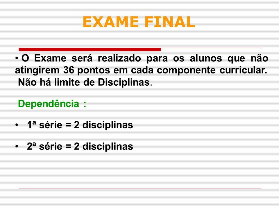 O Exame será realizado para os alunos que não atingirem 36 pontos em cada componente curricular. Não há limite de Disciplinas. Dependência : 1ª série