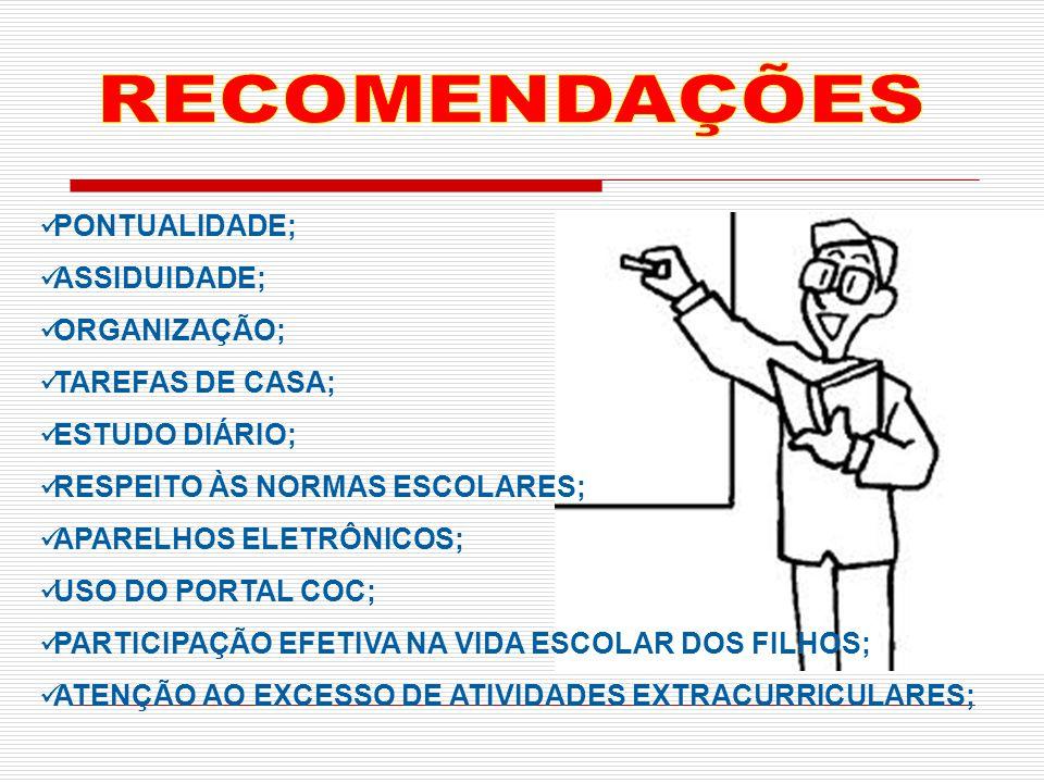 PONTUALIDADE; ASSIDUIDADE; ORGANIZAÇÃO; TAREFAS DE CASA; ESTUDO DIÁRIO; RESPEITO ÀS NORMAS ESCOLARES; APARELHOS ELETRÔNICOS; USO DO PORTAL COC; PARTIC
