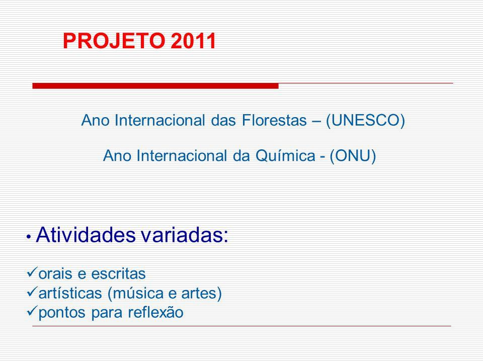 Ano Internacional das Florestas – (UNESCO) Atividades variadas: orais e escritas artísticas (música e artes) pontos para reflexão Ano Internacional da