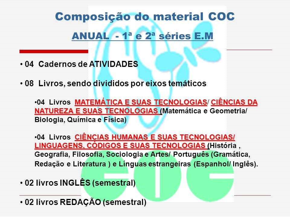 Composição do material COC ANUAL - 1ª e 2ª séries E.M 04 Cadernos de ATIVIDADES 08 Livros, sendo divididos por eixos temáticos MATEMÁTICA E SUAS TECNO