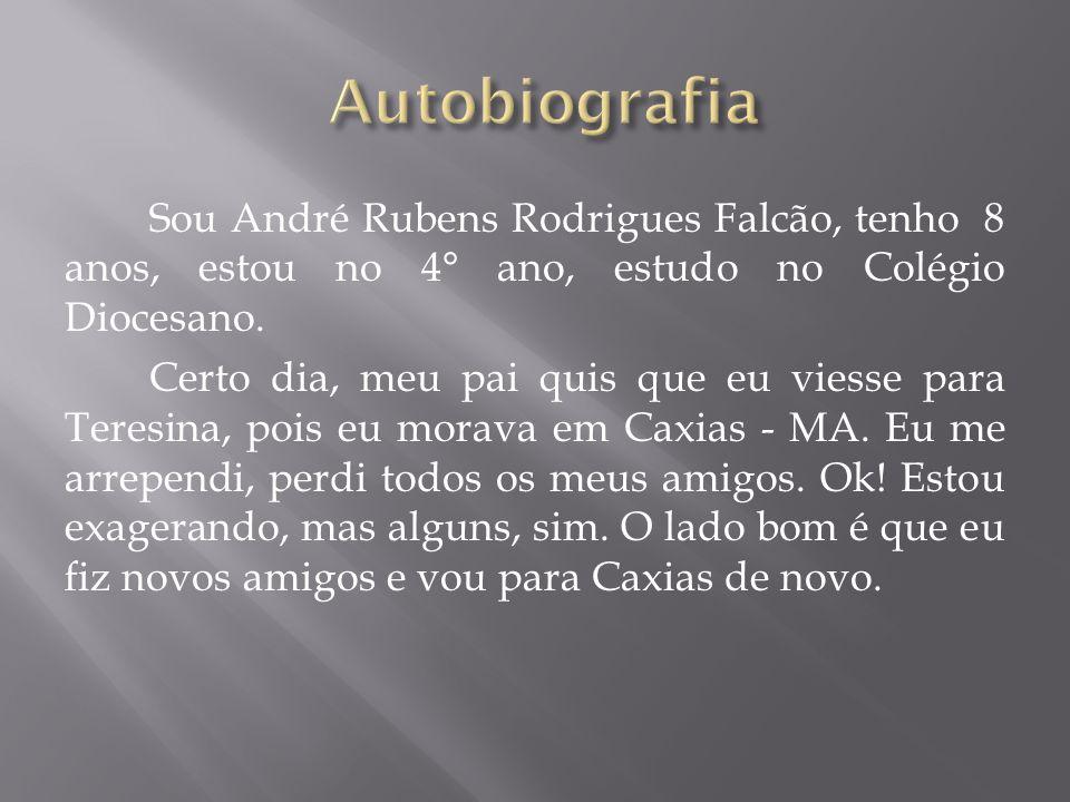 Sou André Rubens Rodrigues Falcão, tenho 8 anos, estou no 4° ano, estudo no Colégio Diocesano.