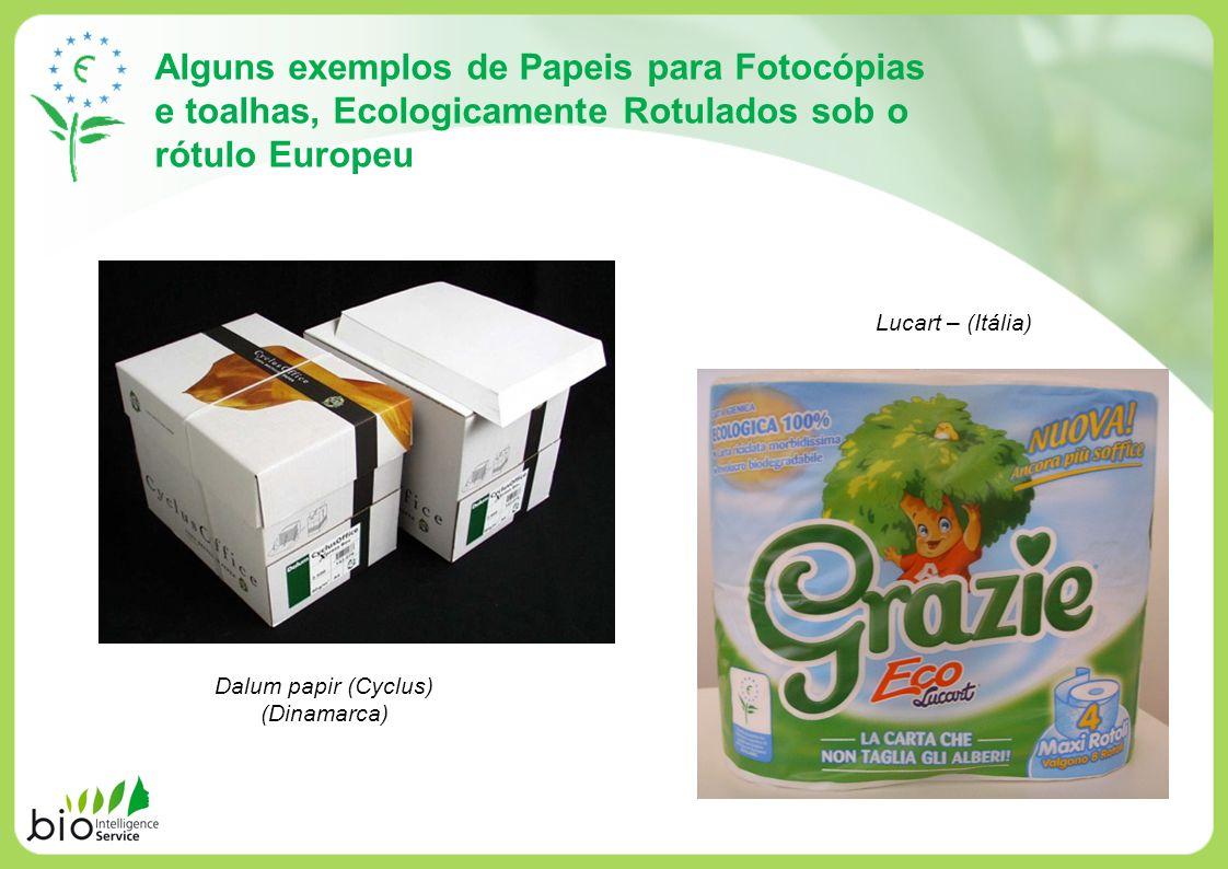Alguns exemplos de Papeis para Fotocópias e toalhas, Ecologicamente Rotulados sob o rótulo Europeu Lucart – (Itália) Dalum papir (Cyclus) (Dinamarca)