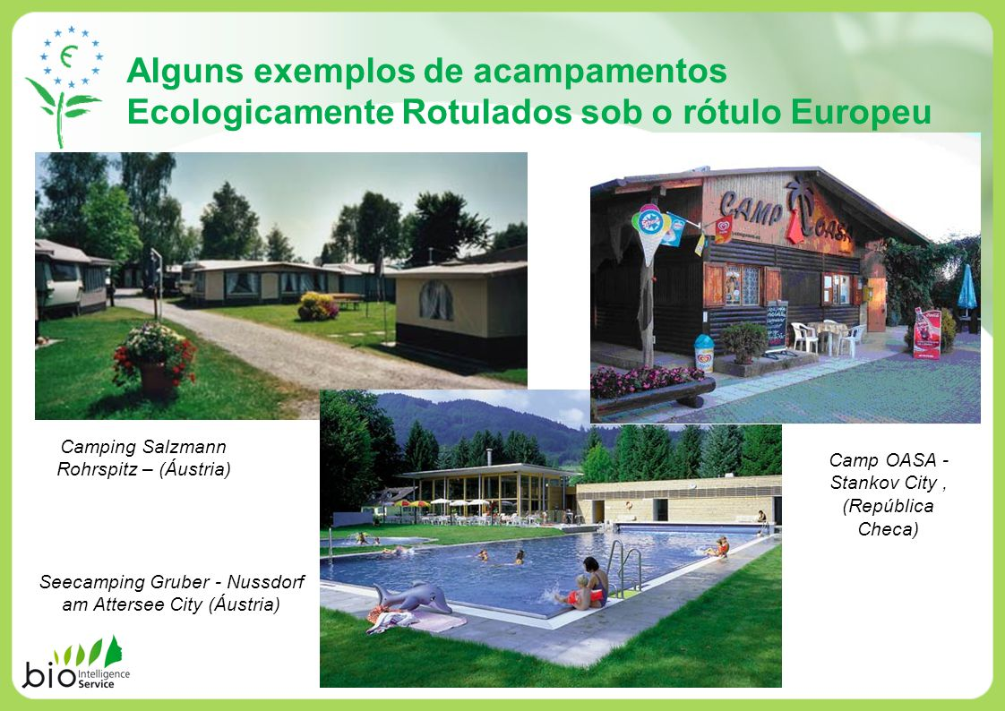 Alguns exemplos de acampamentos Ecologicamente Rotulados sob o rótulo Europeu Camping Salzmann Rohrspitz – (Áustria) Seecamping Gruber - Nussdorf am A