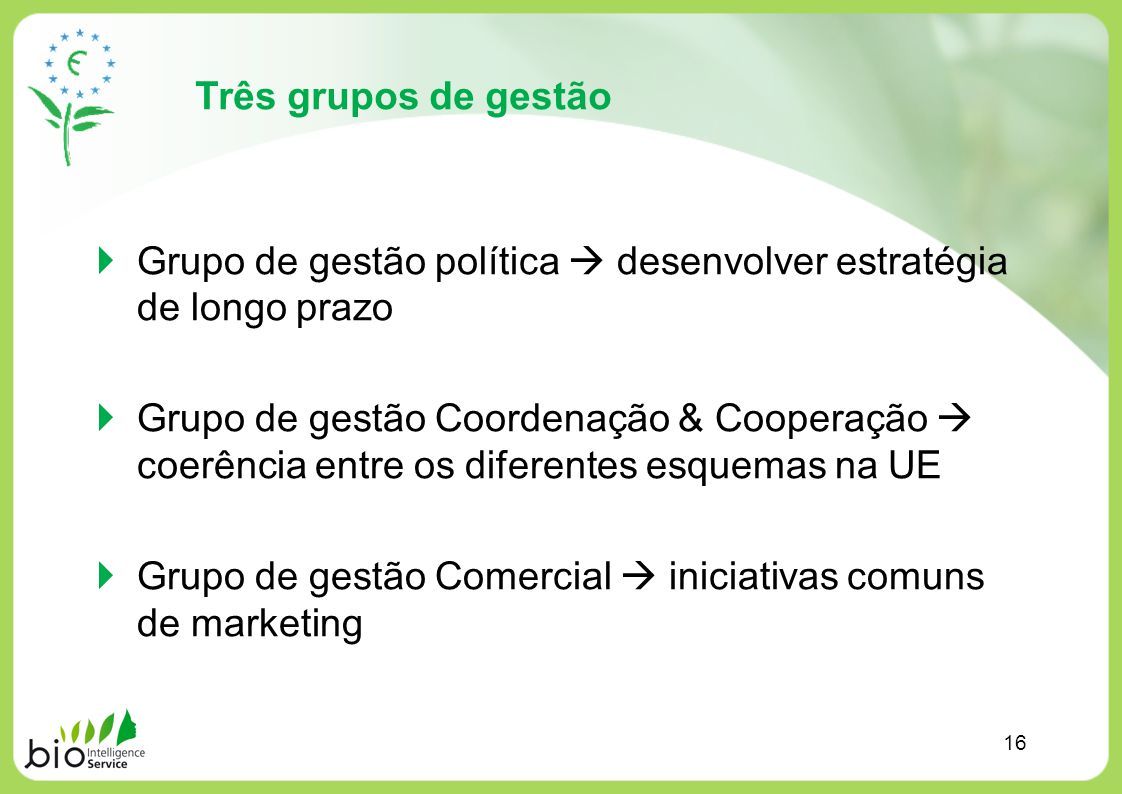 Três grupos de gestão Grupo de gestão política desenvolver estratégia de longo prazo Grupo de gestão Coordenação & Cooperação coerência entre os difer