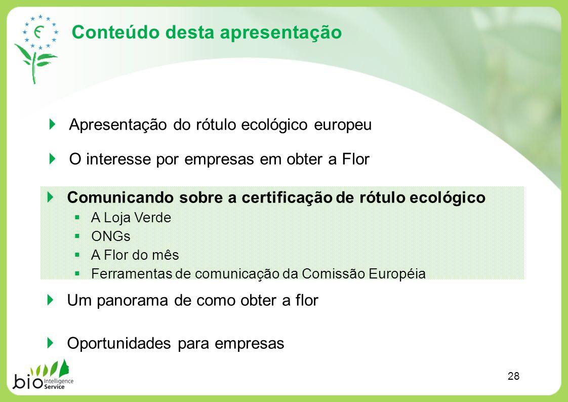 Conteúdo desta apresentação Apresentação do rótulo ecológico europeu O interesse por empresas em obter a Flor Um panorama de como obter a flor Oportun