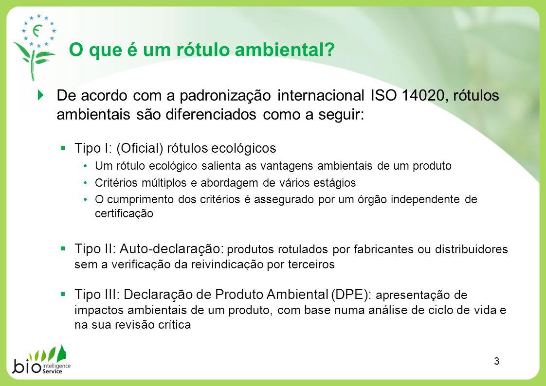 O que é um rótulo ambiental? De acordo com a padronização internacional ISO 14020, rótulos ambientais são diferenciados como a seguir: Tipo I: (Oficia
