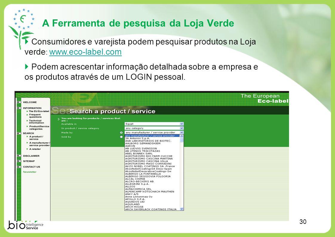 A Ferramenta de pesquisa da Loja Verde Consumidores e varejista podem pesquisar produtos na Loja verde : www.eco-label.com www.eco-label.com Podem acr
