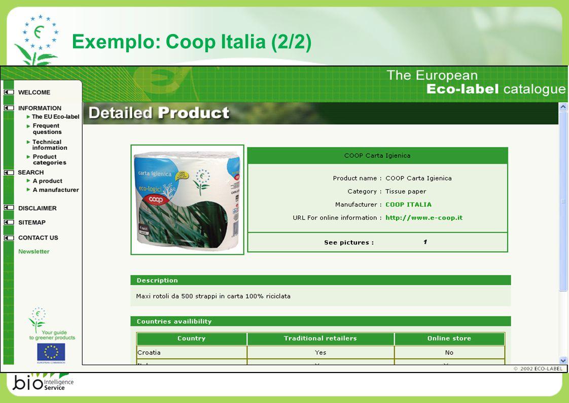 Exemplo: Coop Italia (2/2)