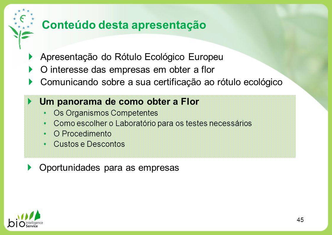 Conteúdo desta apresentação Apresentação do Rótulo Ecológico Europeu O interesse das empresas em obter a flor Comunicando sobre a sua certificação ao