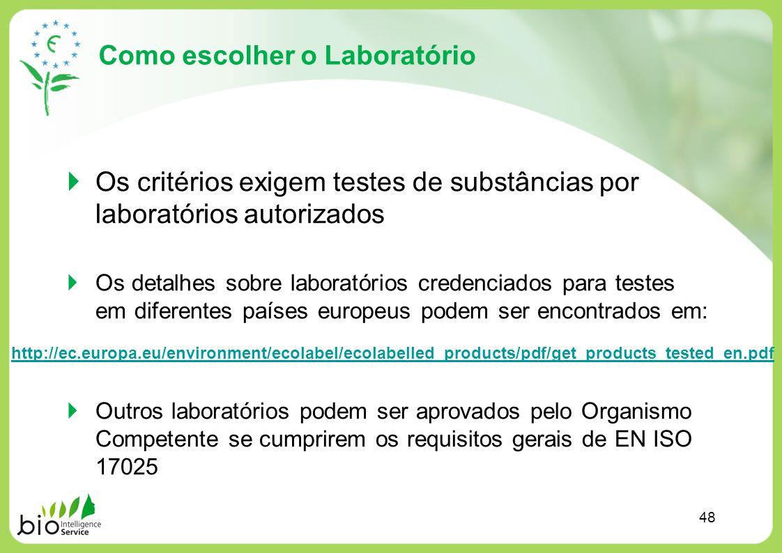 Como escolher o Laboratório Os critérios exigem testes de substâncias por laboratórios autorizados Os detalhes sobre laboratórios credenciados para te