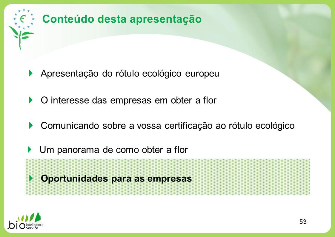 Conteúdo desta apresentação Apresentação do rótulo ecológico europeu O interesse das empresas em obter a flor Comunicando sobre a vossa certificação a