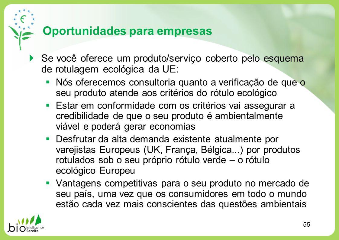 Oportunidades para empresas Se você oferece um produto/serviço coberto pelo esquema de rotulagem ecológica da UE: Nós oferecemos consultoria quanto a