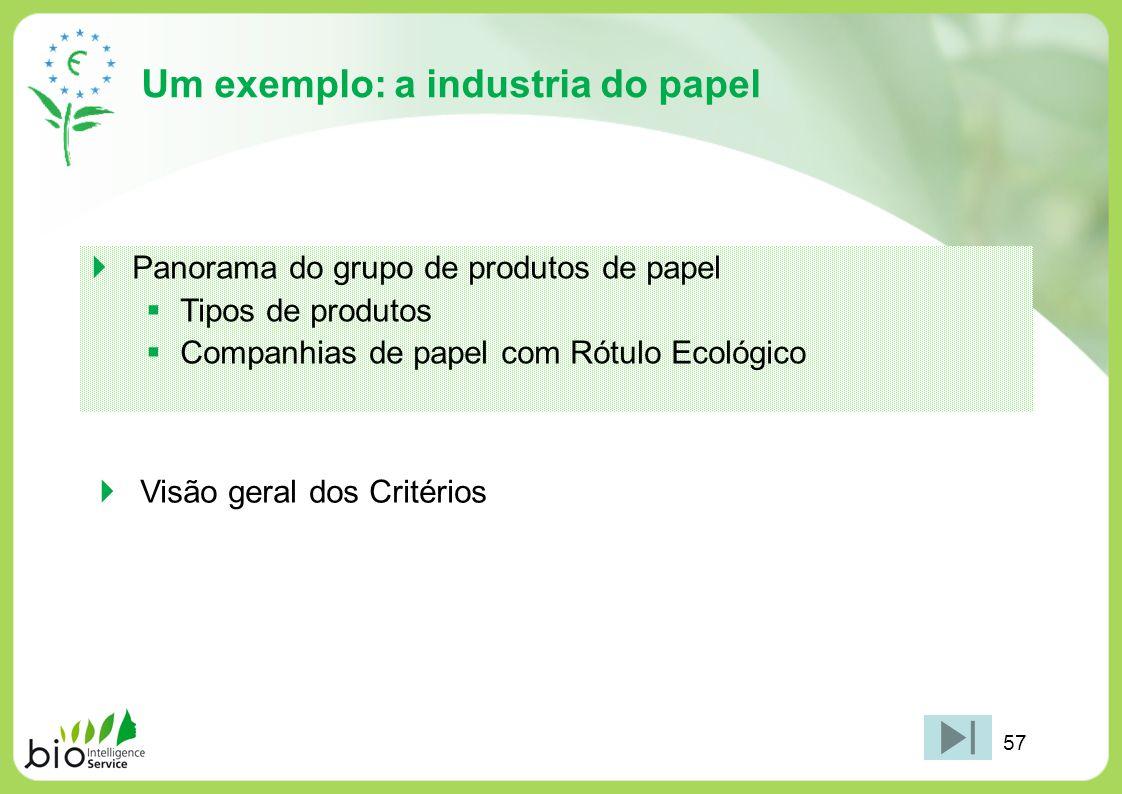 Um exemplo: a industria do papel Panorama do grupo de produtos de papel Tipos de produtos Companhias de papel com Rótulo Ecológico Visão geral dos Cri
