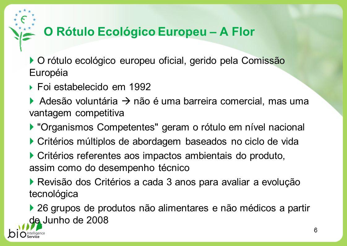 O Rótulo Ecológico Europeu – A Flor O rótulo ecológico europeu oficial, gerido pela Comissão Européia Foi estabelecido em 1992 Adesão voluntária não é