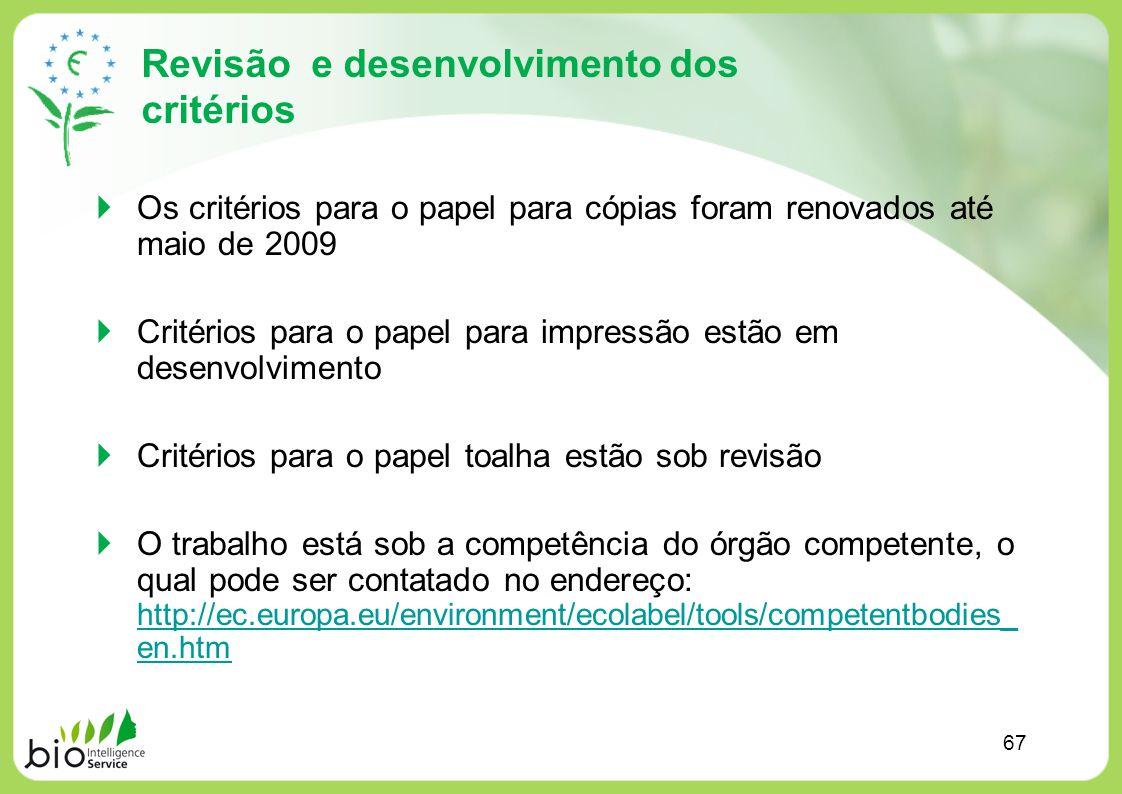 Revisão e desenvolvimento dos critérios Os critérios para o papel para cópias foram renovados até maio de 2009 Critérios para o papel para impressão e