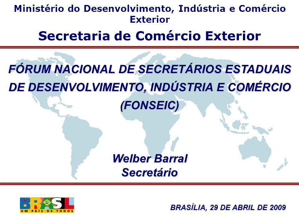 Balança Comercial Brasileira Janeiro/Março - 2009/08 US$ milhões FOB 20092008 Δ% 2009/0 8 Exportação 31.17738.690-19,4 Importação 28.16535.929-21,6 Saldo 3.0122.7619,1 Corrente de Comércio 59.34274.619-20,5
