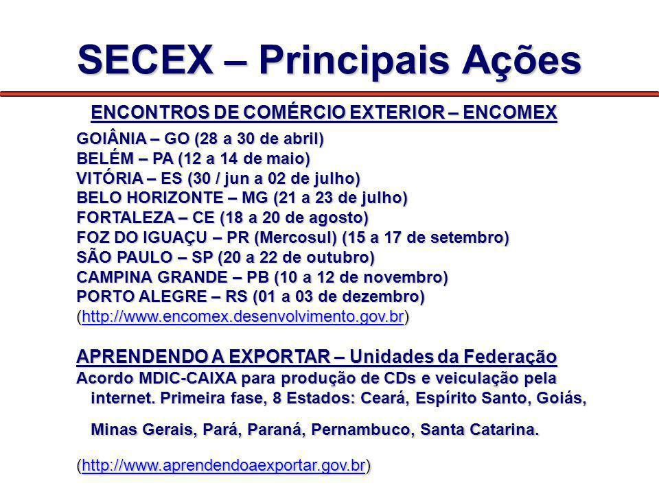 SECEX – Principais Ações ENCONTROS DE COMÉRCIO EXTERIOR – ENCOMEX GOIÂNIA – GO (28 a 30 de abril) BELÉM – PA (12 a 14 de maio) VITÓRIA – ES (30 / jun