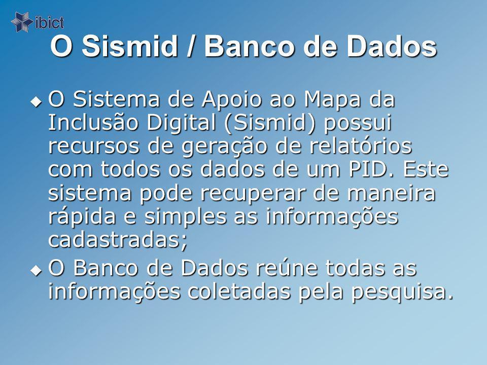 O Sismid / Banco de Dados O Sistema de Apoio ao Mapa da Inclusão Digital (Sismid) possui recursos de geração de relatórios com todos os dados de um PID.