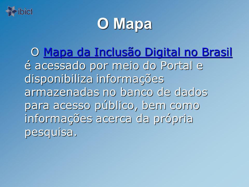 O Mapa O Mapa da Inclusão Digital no Brasil é acessado por meio do Portal e disponibiliza informações armazenadas no banco de dados para acesso público, bem como informações acerca da própria pesquisa.