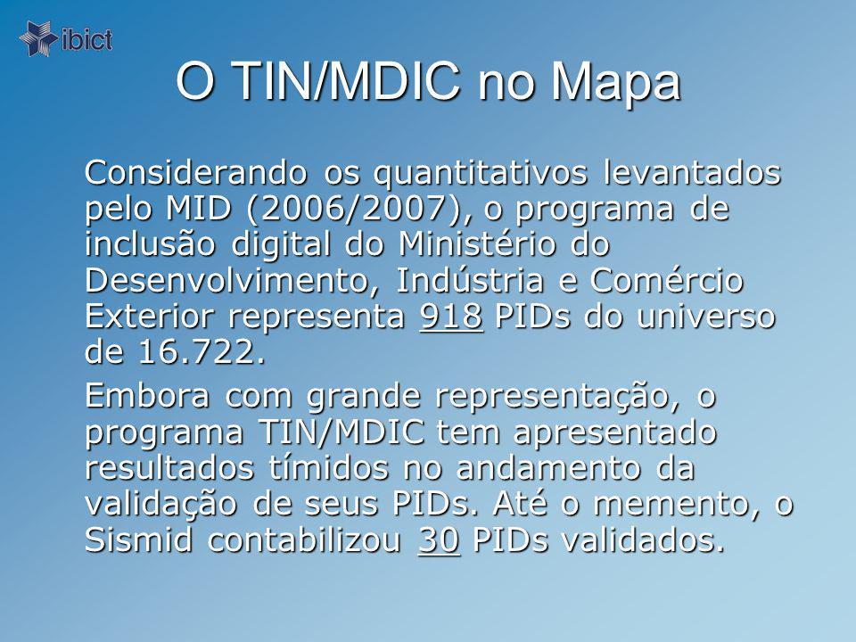 O TIN/MDIC no Mapa Considerando os quantitativos levantados pelo MID (2006/2007), o programa de inclusão digital do Ministério do Desenvolvimento, Indústria e Comércio Exterior representa 918 PIDs do universo de 16.722.
