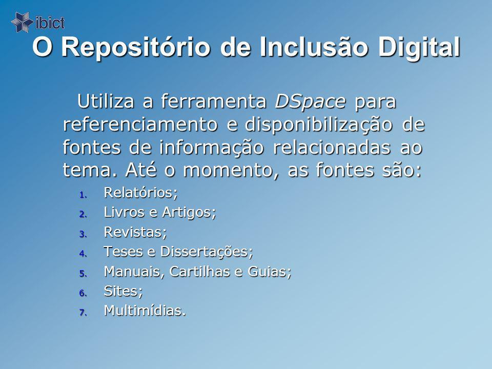 O Repositório de Inclusão Digital Utiliza a ferramenta DSpace para referenciamento e disponibilização de fontes de informação relacionadas ao tema.