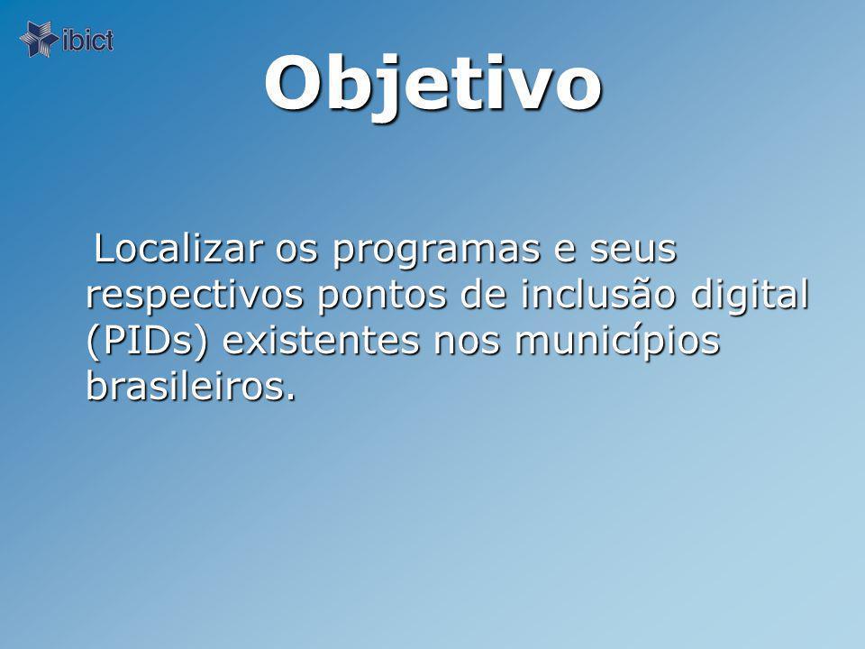 Objetivo Localizar os programas e seus respectivos pontos de inclusão digital (PIDs) existentes nos municípios brasileiros.