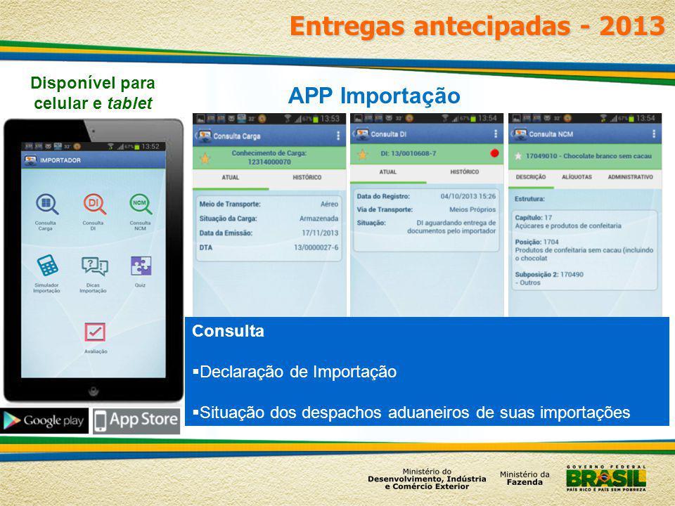 Disponível para celular e tablet Consulta Declaração de Importação Situação dos despachos aduaneiros de suas importações APP Importação Entregas antec