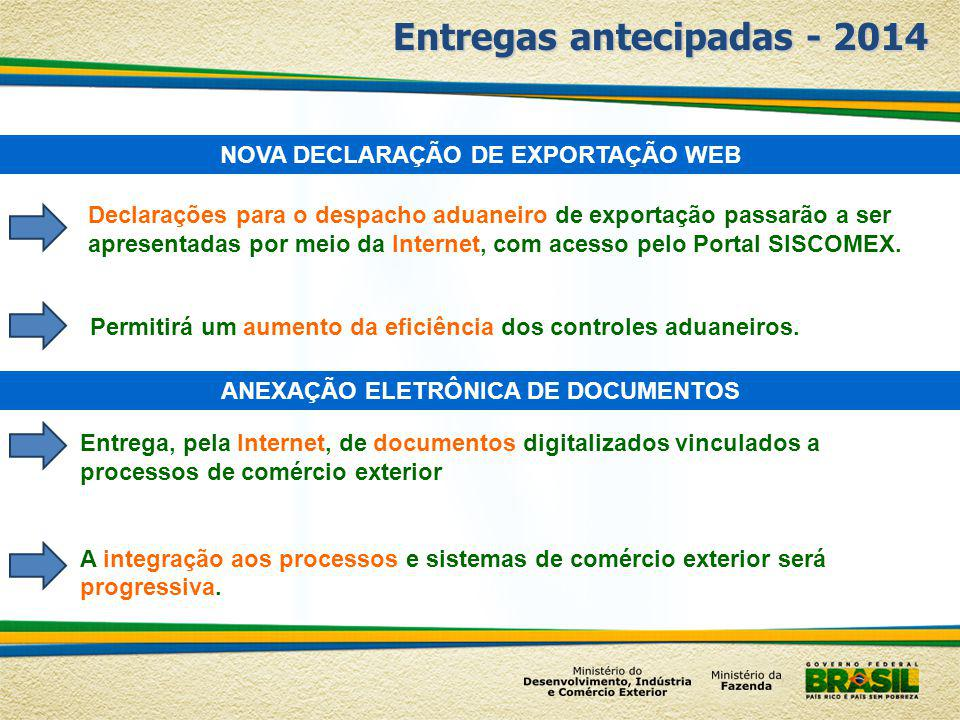 Entregas antecipadas - 2014 NOVA DECLARAÇÃO DE EXPORTAÇÃO WEB Permitirá um aumento da eficiência dos controles aduaneiros. Declarações para o despacho