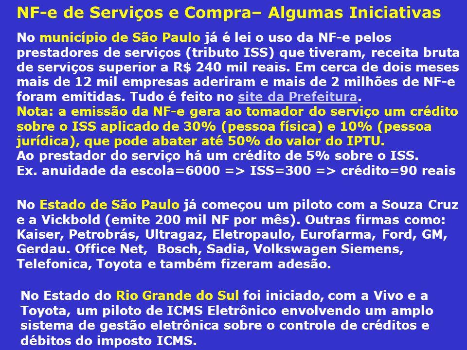 NF-e de Serviços e Compra– Algumas Iniciativas No Estado do Rio Grande do Sul foi iniciado, com a Vivo e a Toyota, um piloto de ICMS Eletrônico envolv