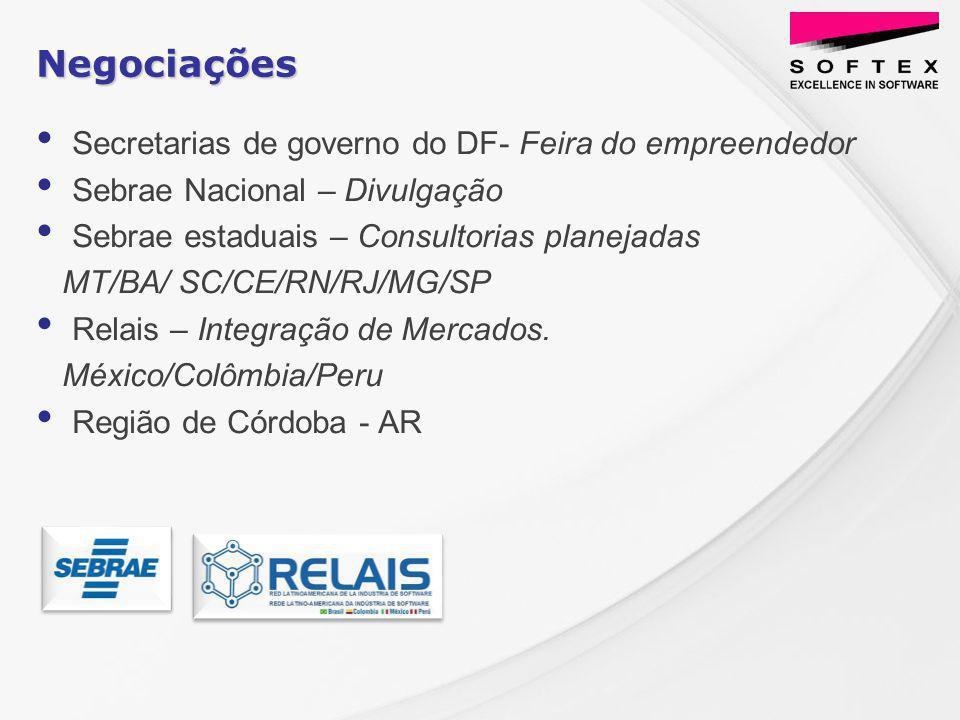 Secretarias de governo do DF- Feira do empreendedor Sebrae Nacional – Divulgação Sebrae estaduais – Consultorias planejadas MT/BA/ SC/CE/RN/RJ/MG/SP Relais – Integração de Mercados.