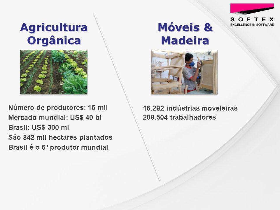 Número de produtores: 15 mil Mercado mundial: US$ 40 bi Brasil: US$ 300 mi São 842 mil hectares plantados Brasil é o 6º produtor mundial Móveis & Madeira Agricultura Orgânica 16.292 indústrias moveleiras 208.504 trabalhadores