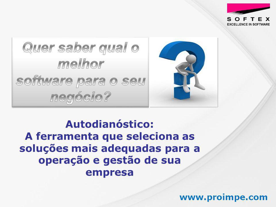 www.proimpe.com Autodianóstico: A ferramenta que seleciona as soluções mais adequadas para a operação e gestão de sua empresa