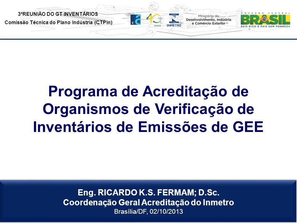 3ªREUNIÃO DO GT INVENTÁRIOS Comissão Técnica do Plano Indústria (CTPIn) Eng. RICARDO K.S. FERMAM; D.Sc. Coordenação Geral Acreditação do Inmetro Brasí