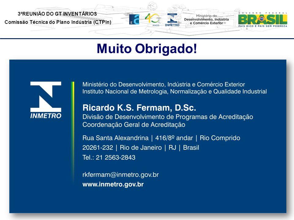 3ªREUNIÃO DO GT INVENTÁRIOS Comissão Técnica do Plano Indústria (CTPIn) Muito Obrigado!