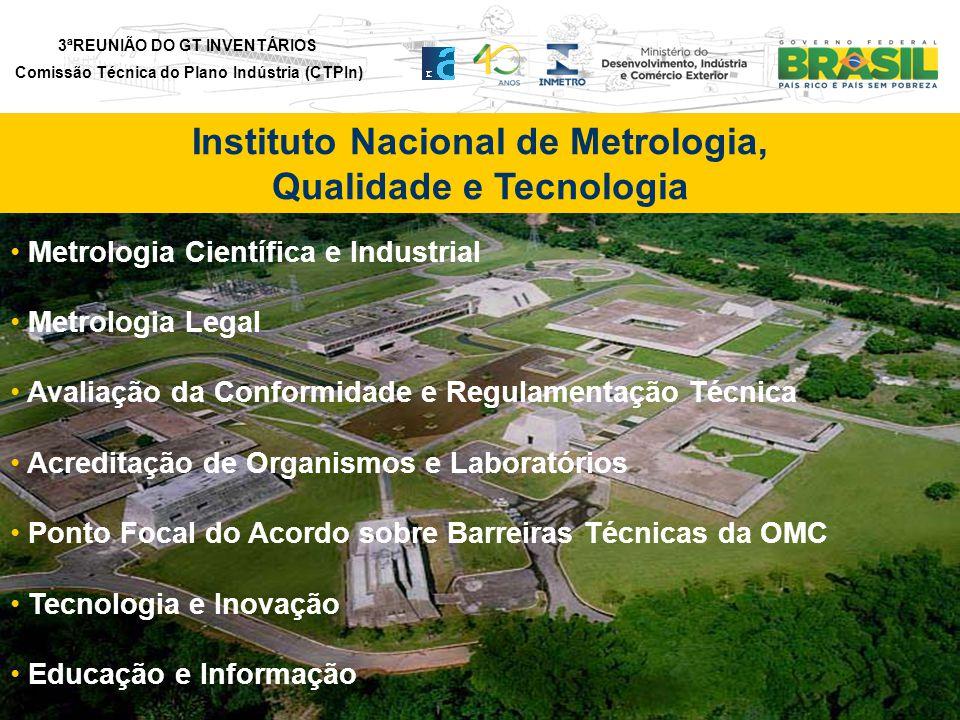 3ªREUNIÃO DO GT INVENTÁRIOS Comissão Técnica do Plano Indústria (CTPIn) Metrologia Científica e Industrial Metrologia Legal Avaliação da Conformidade