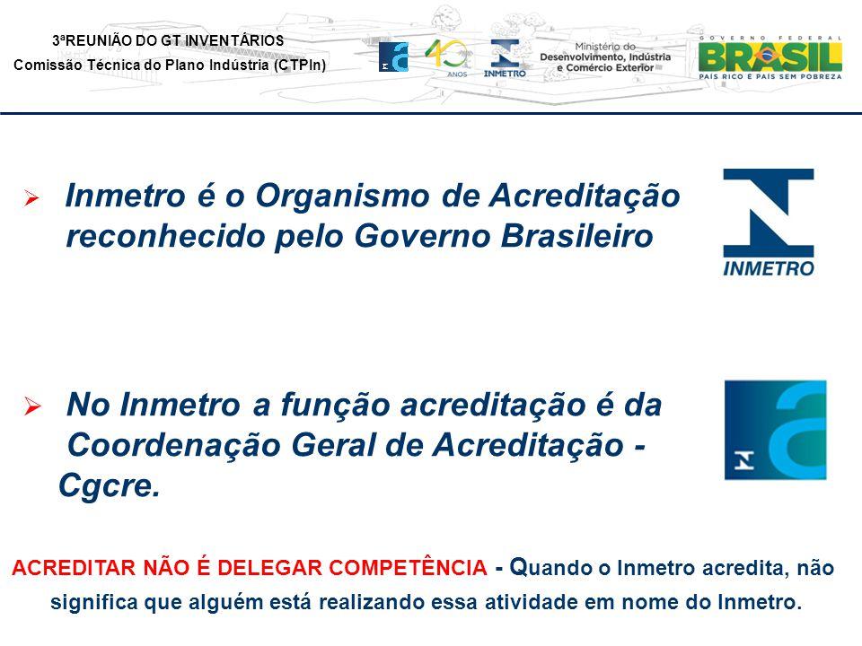3ªREUNIÃO DO GT INVENTÁRIOS Comissão Técnica do Plano Indústria (CTPIn) Inmetro é o Organismo de Acreditação reconhecido pelo Governo Brasileiro No Inmetro a função acreditação é da Coordenação Geral de Acreditação - Cgcre.