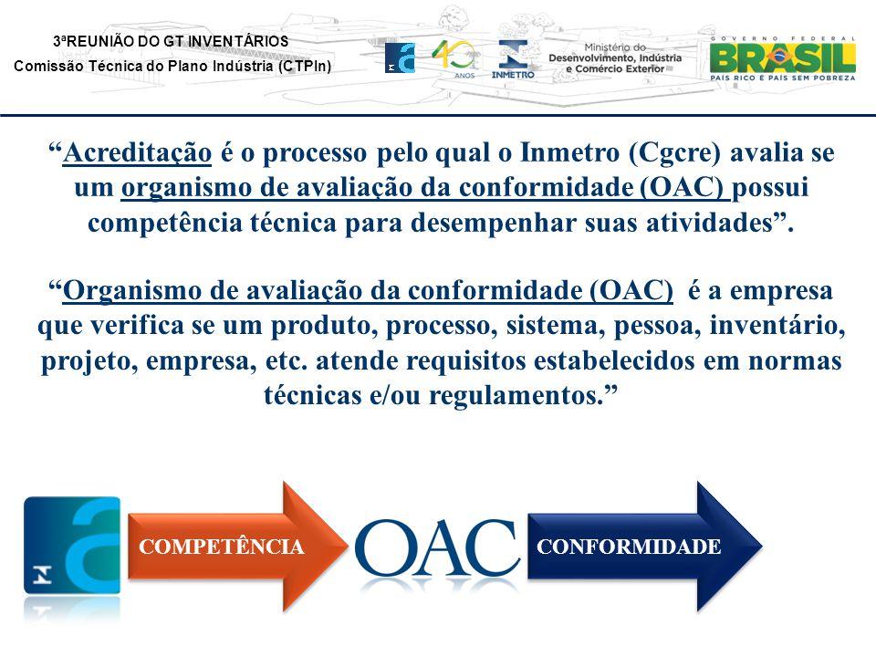 3ªREUNIÃO DO GT INVENTÁRIOS Comissão Técnica do Plano Indústria (CTPIn) Acreditação é o processo pelo qual o Inmetro (Cgcre) avalia se um organismo de avaliação da conformidade (OAC) possui competência técnica para desempenhar suas atividades.