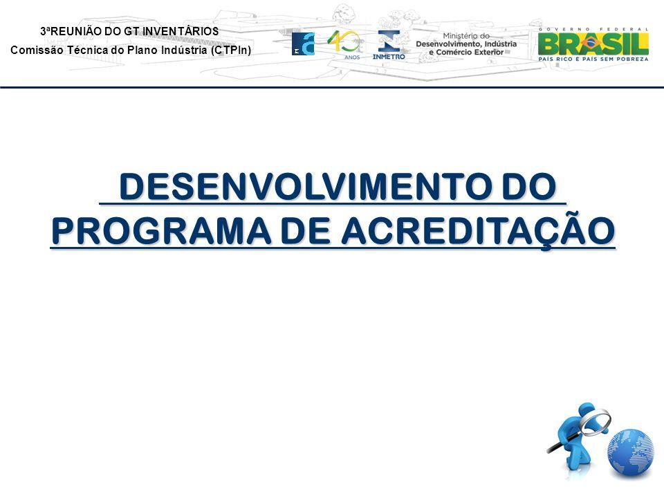 3ªREUNIÃO DO GT INVENTÁRIOS Comissão Técnica do Plano Indústria (CTPIn) DESENVOLVIMENTO DO DESENVOLVIMENTO DO PROGRAMA DE ACREDITAÇÃO