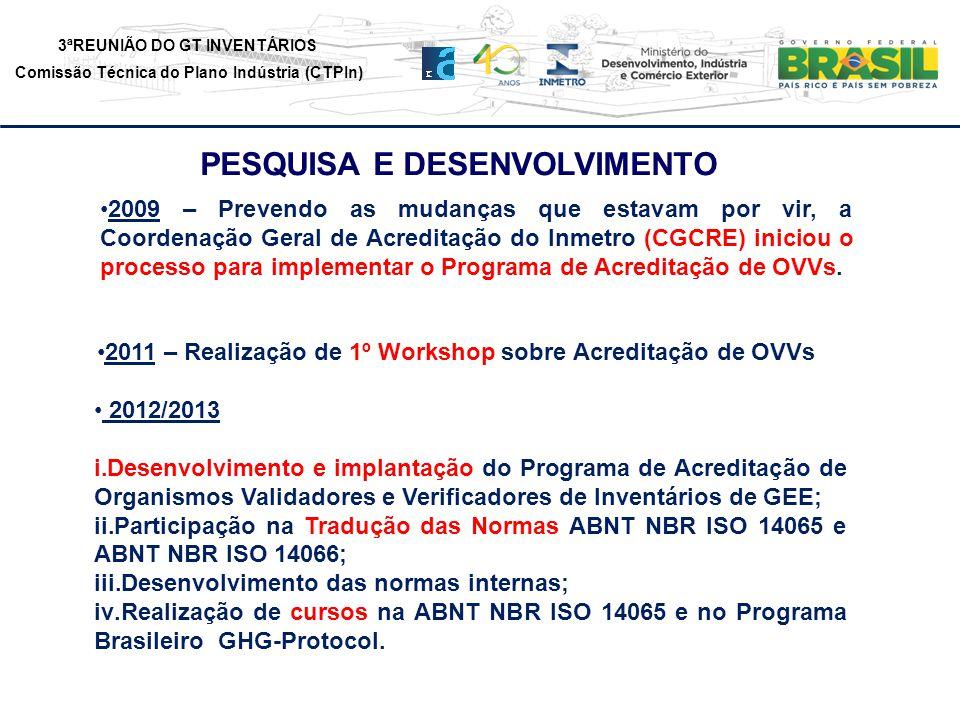 3ªREUNIÃO DO GT INVENTÁRIOS Comissão Técnica do Plano Indústria (CTPIn) PESQUISA E DESENVOLVIMENTO 2009 – Prevendo as mudanças que estavam por vir, a