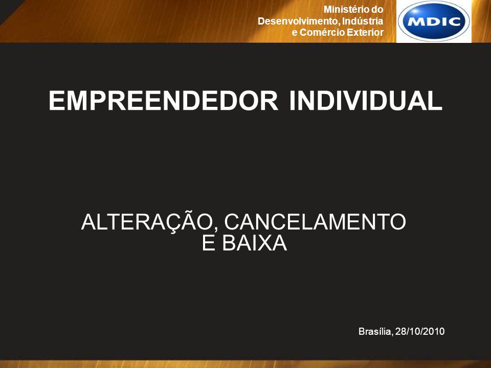 Definição das regras de negócio para as novas funções de alteração, cancelamento e baixa do registro do EI Realizada reunião em Brasília, de 23 a 27/08/2010 Participantes: Membros dos GTs/CGSIM de Comunicação, Sistemas, Licenciamento e Avaliação de Riscos, Normas, GAT e convidados (Juntas Comerciais, SEBRAE, FENACON, CFC, CGMI, DATAPREV, SERPRO) Ministério do Desenvolvimento, Indústria e Comércio Exterior