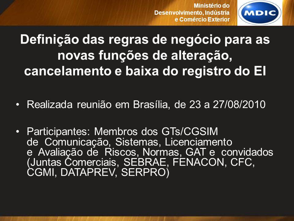 Definição das regras de negócio para as novas funções de alteração, cancelamento e baixa do registro do EI Realizada reunião em Brasília, de 23 a 27/0