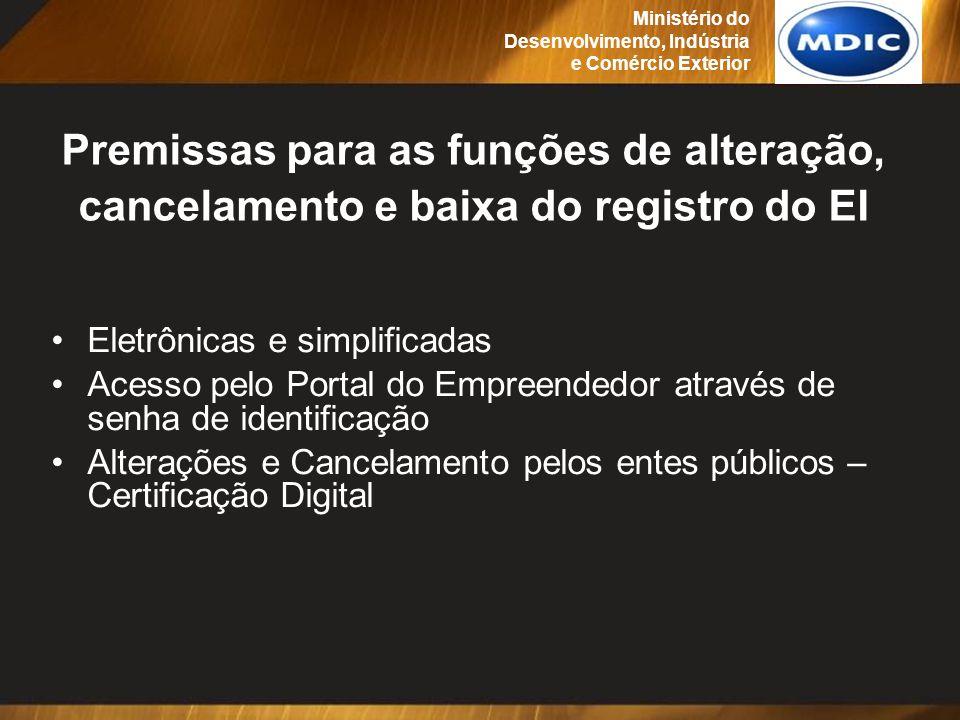 Premissas para as funções de alteração, cancelamento e baixa do registro do EI Eletrônicas e simplificadas Acesso pelo Portal do Empreendedor através